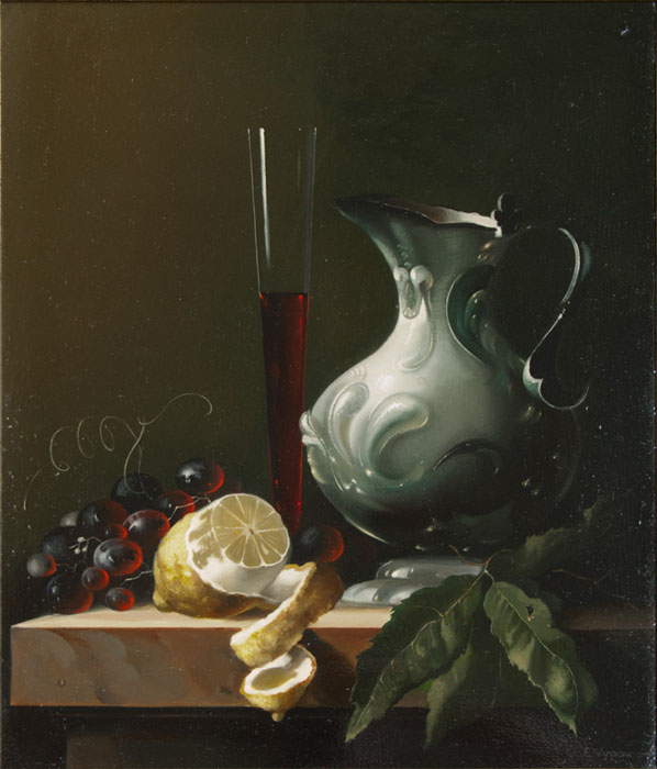 """Grapes"" oil on canvas 19x 24 ,private collections in USA"
