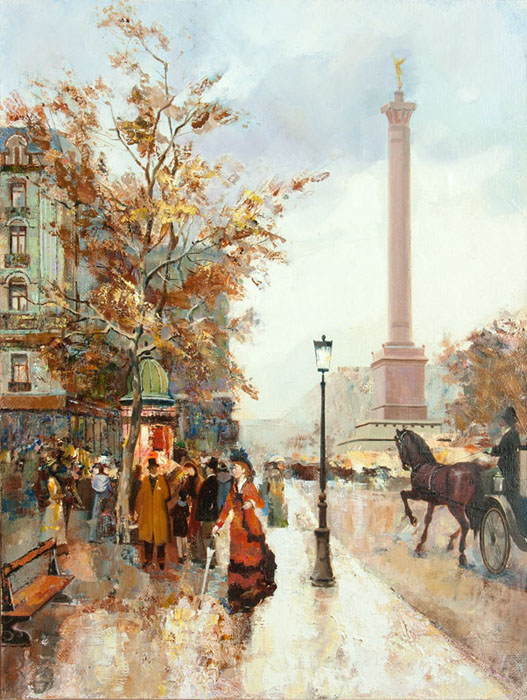 Paris oil on canvas 40x50 ,private collections in France